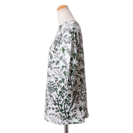 アーデム ERDEM パフスリーブプリント半袖カットソーTシャツ コットン ホワイトグリーン