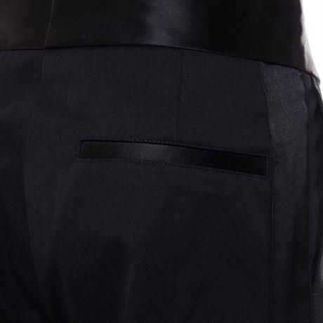 ラフシモンズ RAF SIMONS ワイドパンツ コットン混合 ブラックサテン
