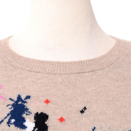 クイーンアンドベル queene and belle 長袖セーター カシミア ベージュアブストラクト