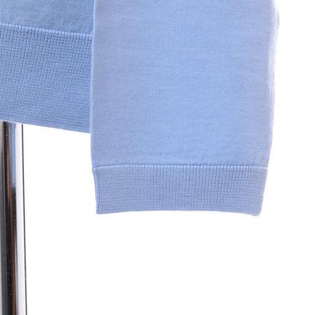 プラスプラス +2 ハイゲージラウンドネックセーター ヨコアンティオリジナル スカイブルー