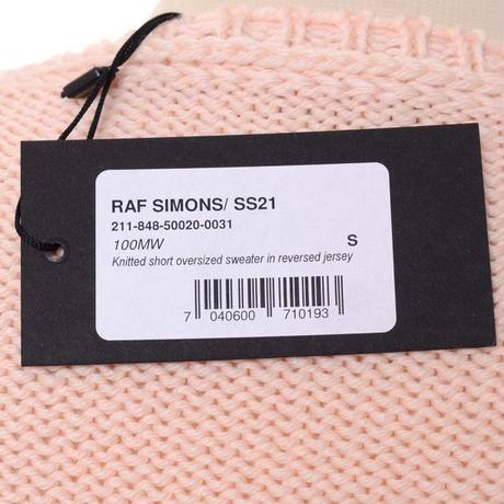 ラフシモンズ RAF SIMONS リバースドジャージーニット・ショートオーバーサイズドセーター ウール オフホワイトピンク