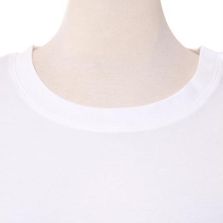 プラスプラス +2 ロール袖Aラインカットソー コットンジャージー ホワイト