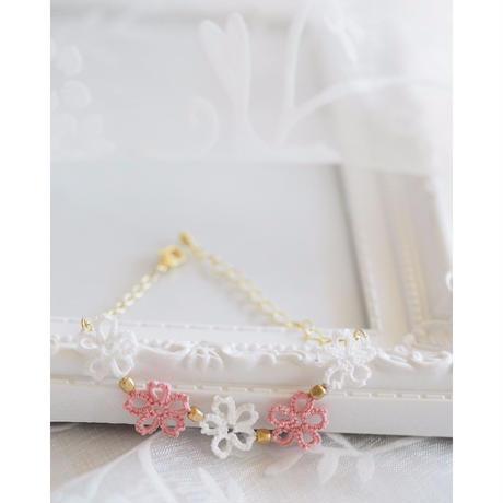 春色レースの桜ブレスレット (白・ピンク)