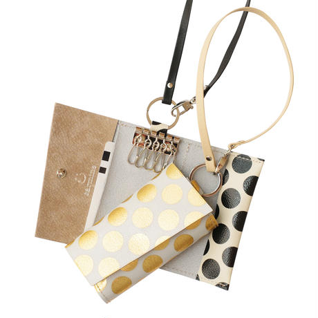 New!キーパスケースクリアドット ストラップ付き  【Key Passcase Clear Dot with Strap】