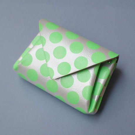 New!レザーミニウォレット クリアドット ネオングリーン 【Leather Mini Clear Dot Neon Green 】