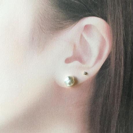 小粒ダイヤモンド スタッズピアス(片側販売)  【K18】