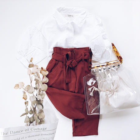 kids★High waist tuck pants