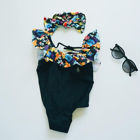 kids★Flower frill swim  wear(hair band set)