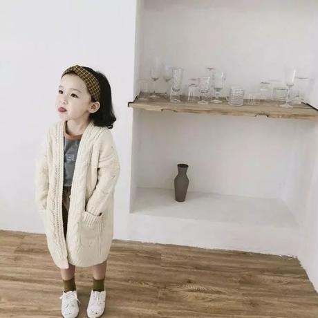 【予約商品】kids★cable knit long cardigan