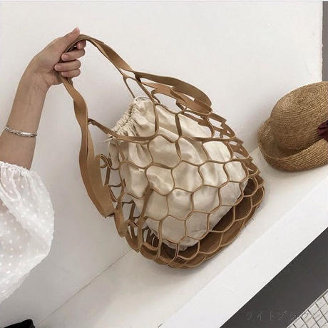 leather mesh net bag
