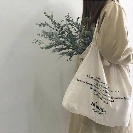 【ladies】English letters tote bag