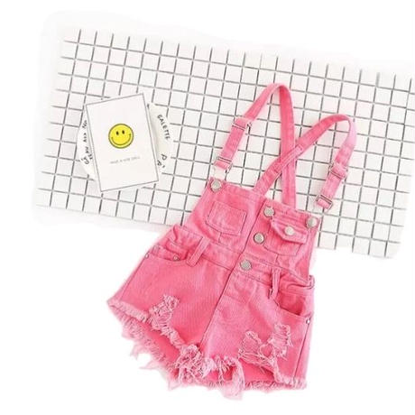 kids★damage pink salopette