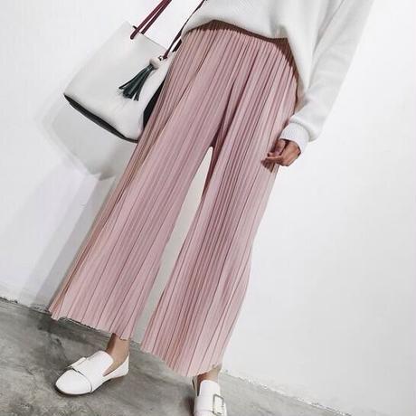 【ladies】pleats wide pants
