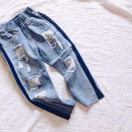 kids★USED風 damage straight denim pants