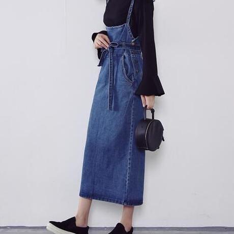 【ladies】denim long skirt one-piece