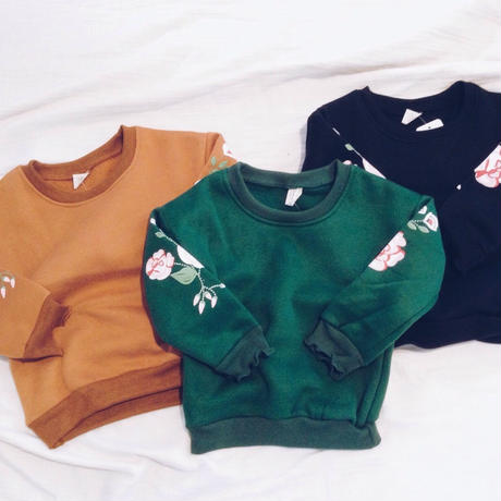 kids★flower sleeve pullover