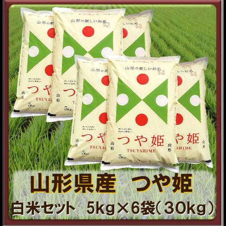 平成30年 山形県産 つや姫  特別栽培米 白米セット(5kg×6袋)30kg