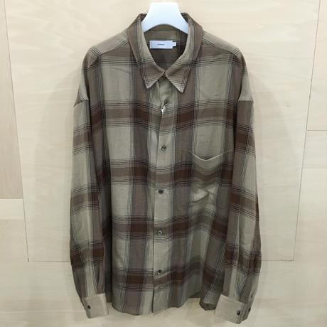 Graphpaper / GM193 50018 / Check Regular Collar Big Sleeve Shirt (BROWN CHECK)