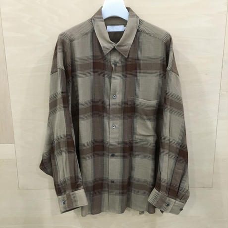 Graphpaper / GL193 50017 / Check Womens Band Collar Big Sleeve Shirt (BROWN CHECK)
