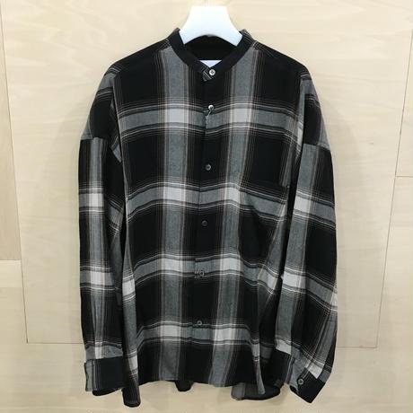Graphpaper / GL193 50017 Check Womens Band Collar Big Sleeve Shirt (BLACK CHECK)