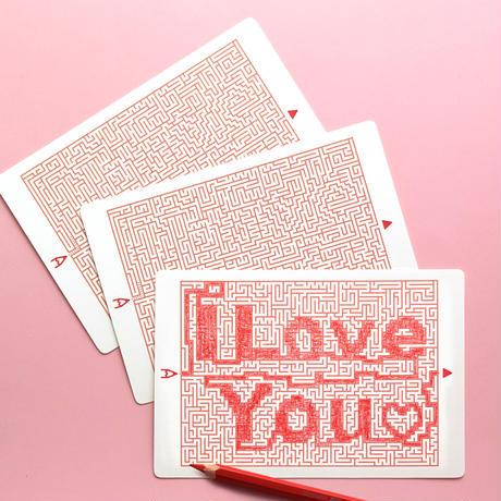 ★送料無料★ 迷路のメッセージカード01「I LOVE YOU」3枚セット