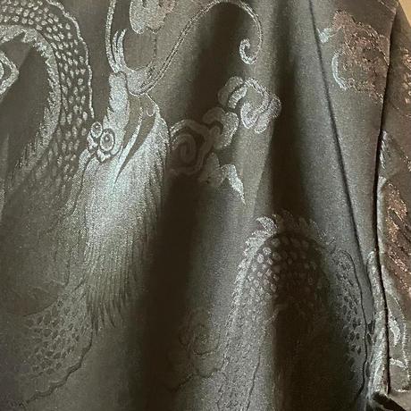 同色プリント光沢ドラゴンチャイナシャツ  (black)