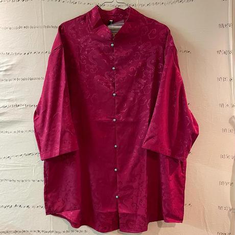 ビーズボタンチャイナシャツ red