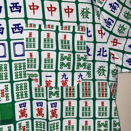 麻雀総柄シャツ (緑)