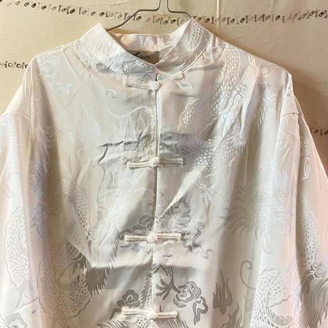 同色プリント光沢ドラゴンチャイナシャツ(white)