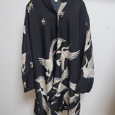 鶴総柄バンドカラーシャツ