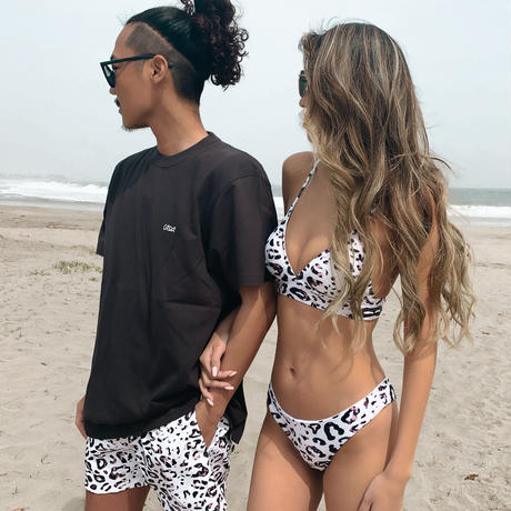 leopard triangle bikini tops