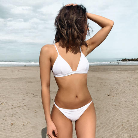 white small triangle bikini tops