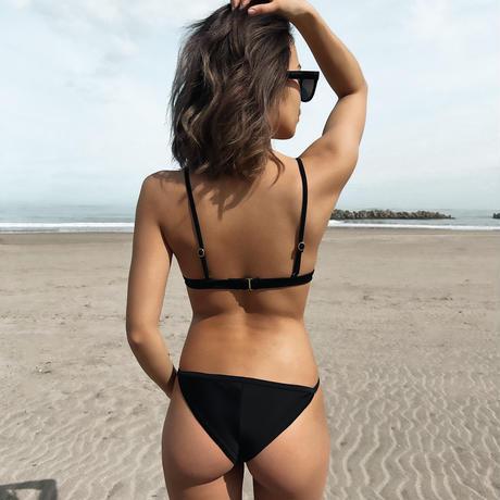 black small triangle bikini tops
