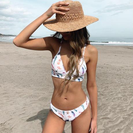 feather triangle bikini tops