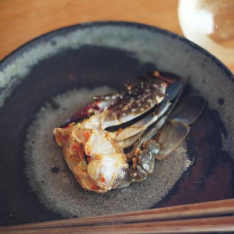 渡り蟹の塩辛(半身)/銀杏釜めし