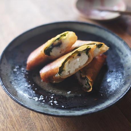 鱧の梅しそチーズ春巻き(2本)/銀杏釜めし