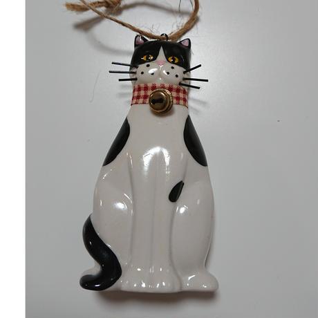 陶製はちわれ黒白猫オーナメント