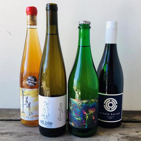 泡、白、オレンジ、赤ワインの入ったナチュラルワイン4本セット