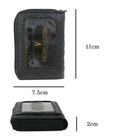 ルチアーノバレンチノ牛革オーストリッチ型押 小銭入れ付きパスケース フラグメントケース キャッシュレスミニ財布 LUV5008