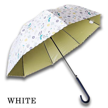 レディースドーム日傘 晴雨兼用 紫外線カット99%以上 コーティング 60センチ GOODデザイン 女性用 コンパクト長傘 雨傘  おしゃれ 北欧フラワー遮光 UPF50+ 遮熱 um2061j
