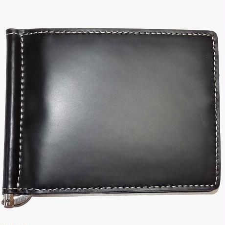 【 Merge(マージ)】馬革×牛革 マネークリップ 小銭入れ付 カードポケット有 メンズ レザー 札ばさみ MG-1719 ブラック 黒