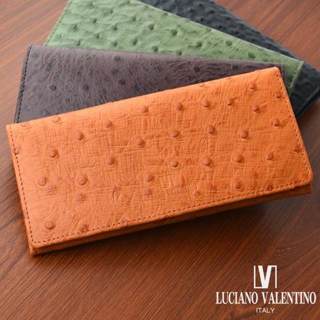 ルチアーノバレンチノ 牛革 オーストリッチ型押し 長財布 メンズ レディース LUV5001