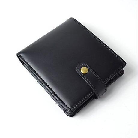 【 Merge(マージ)】馬革×牛革 一部クロコ型押し BOX型小銭入れ メンズ二つ折り短財布 レザー MG-1740 ブラック 黒