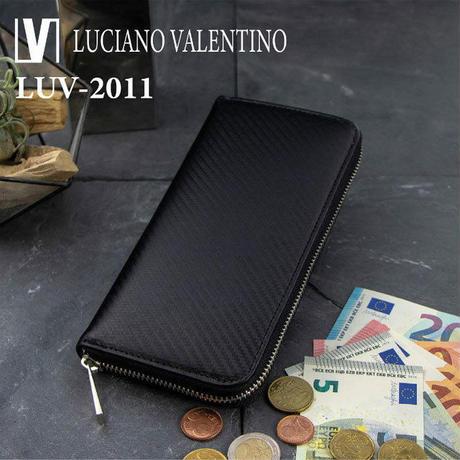 【Luciano Valentino】ルチアーノバレンチノ カーボンレザー ラウンドファスナー 迷彩柄 長財布 メンズ紳士用  送料無料LUV2011bk