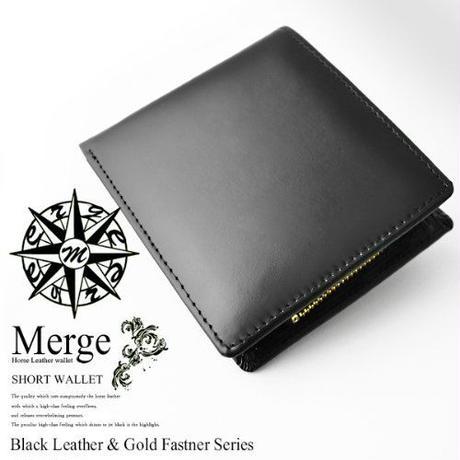 【 Merge(マージ)】馬革×牛革 二つ折り短財布 メンズレザーショートウォレット  財布 MG-1713 ブラック 黒