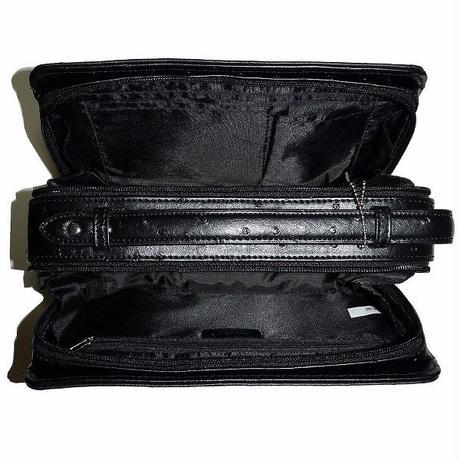 【宅配便送料無料】【United HOMMEユナイテッドオム】牛革 オーストリッチ 型押し BOX型 セカンドバッグ uhp2174 ブラック 黒