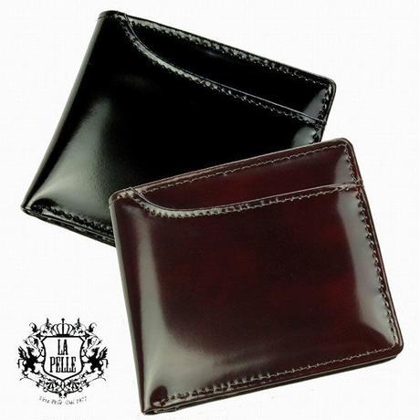 【LA PELLE】イタリアンレザー カードスライダー付き二つ折り財布 メンズ牛革 本革短財布 LP3004