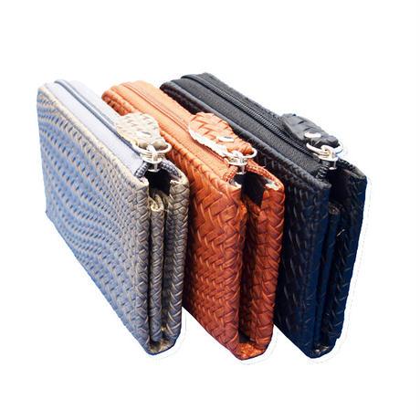 カードスライダー付 レザー編み込み調 L字ラウンドファスナー コインケース パスケース コンパクト財布 ミニウオレット PUレザー wacs004