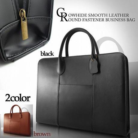 【MOMO モモ】メンズ レザー ビジネスバッグ 紳士用 牛革バッグ ブラック ブラウン ビジネスカバン かばん 鞄 bag 牛革 本革 スムースレザーラウンドファスナービジネスバッグAN958