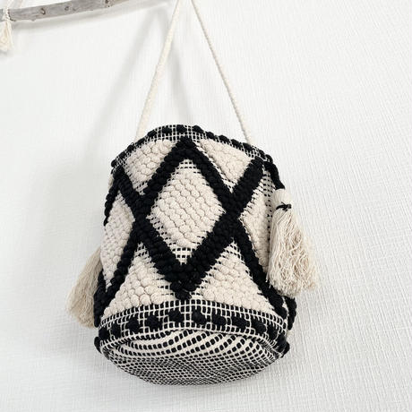 Bucket shoulder bag -Natural×black
